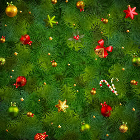 Christmas fir tree texture with baubles.  illustration. Vector