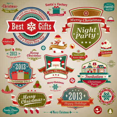 Christmas vintage set - labels, ribbons and other decorative elements.  illustration. Stock Vector - 16582376