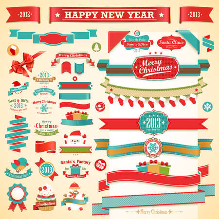 Christmas set - vintage ribbons, labels and other decorative elements.  illustration. Stock Vector - 16582361