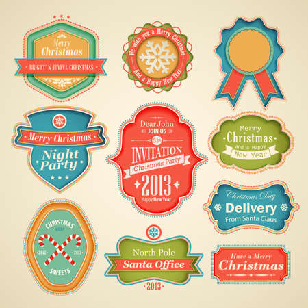 Christmas set - scrapbook labels and emblems. Vector