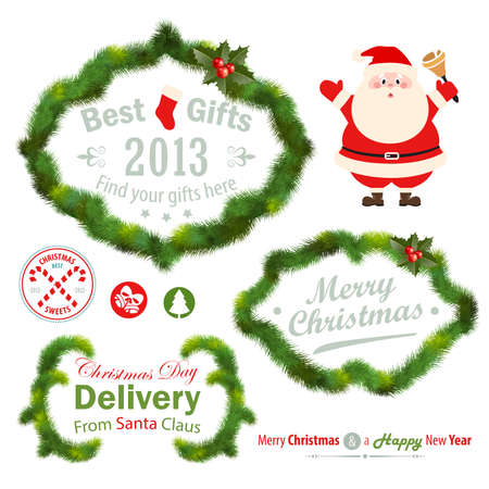 Christmas decorative elements - fir tree.  illustration. Stock Vector - 16582394