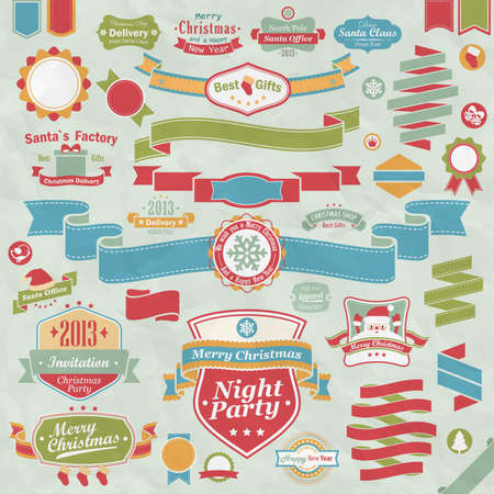 Christmas set - colorful ribbons, labels and other decorative elements.  illustration. Vector