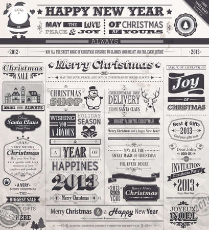 Christmas set - old vintage Newspaper stile. Vector