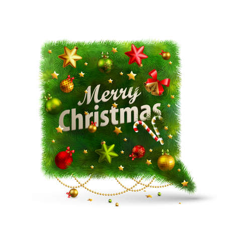 Christmas Bubble for speech - fir tree.  illustration. Stock Vector - 16582385