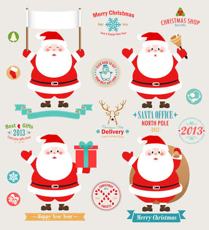 Christmas set - Santa Claus, emblems and other decorative elements.  Vector
