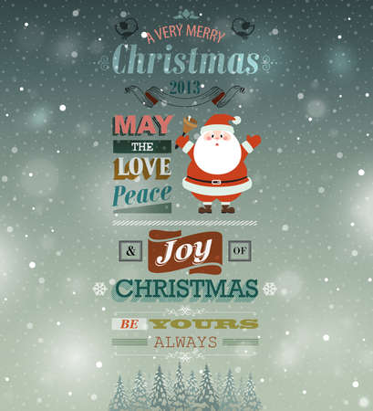 Christmas vintage greeting card. Vector