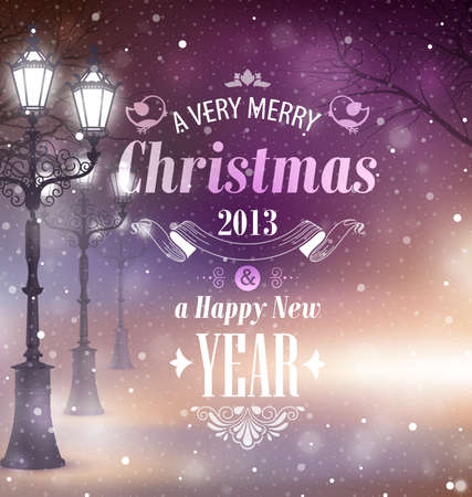 greeting card backgrounds: Christmas greeting card - night street. Illustration