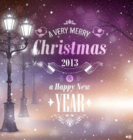 Christmas greeting card - night street. Stock Vector - 16661869