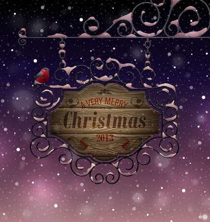 Christmas vintage greeting card - wooden signboard. Vector