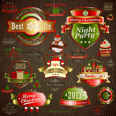 Christmas vintage set - labels and other decorative elements on wood texture. Vector illustration. Vector