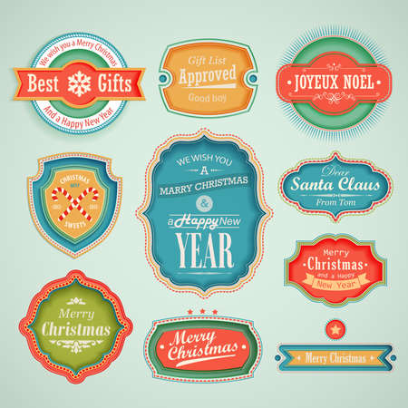 Christmas set - scrapbook labels and emblems. Stock Vector - 16693091