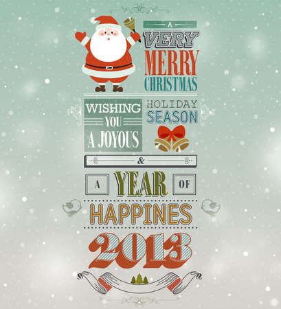 Christmas vintage greeting card. Vector illustration Vector