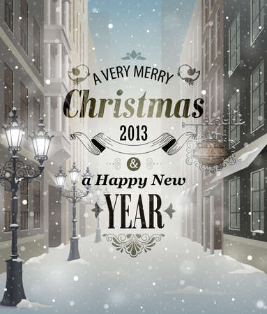 happy new year text: Christmas greeting card - snowy street. Illustration
