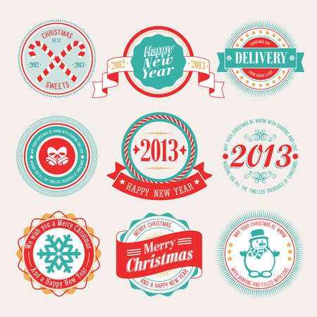 Christmas set - labels and emblems  illustration  Vector
