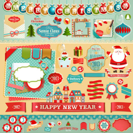 Christmas Scrapbook set - ribbons, emblems and other decorative elements  Vector
