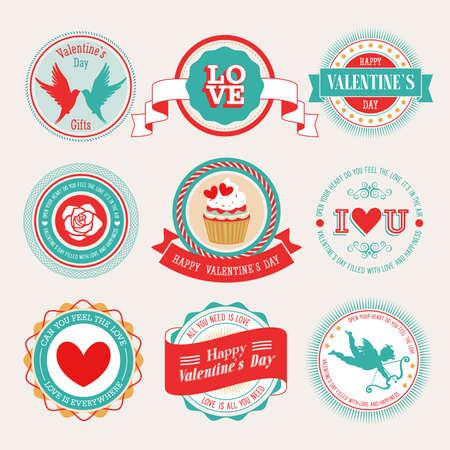 Valentine s Day set - labels and emblems illustration Vetores
