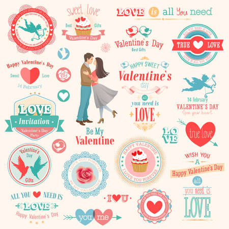 Valentine s Day set - labels, emblems and other elements  illustration  Vector