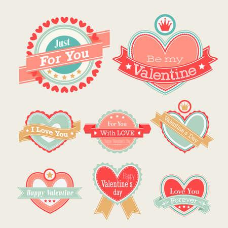 d�a s: Set Valentine s Day - etiquetas e ilustraci�n emblemas Vectores