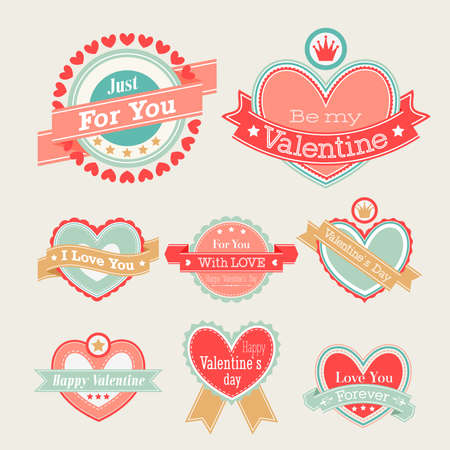 Valentine s Day set - labels and emblems  illustration  Vector
