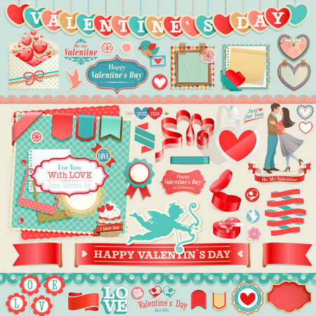 valentine's: Valentine s Day set - vintage design elements and ribbons