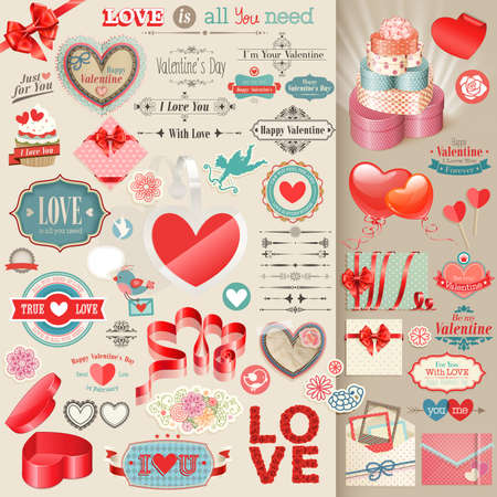 scrapbook element: Valentine s Day set - vintage design elements Illustration