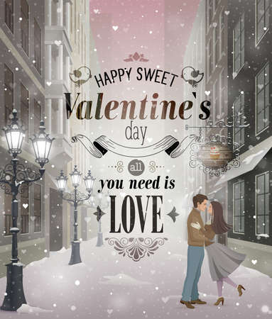 Valentine s Day greeting card - snowy romantic street  Vector
