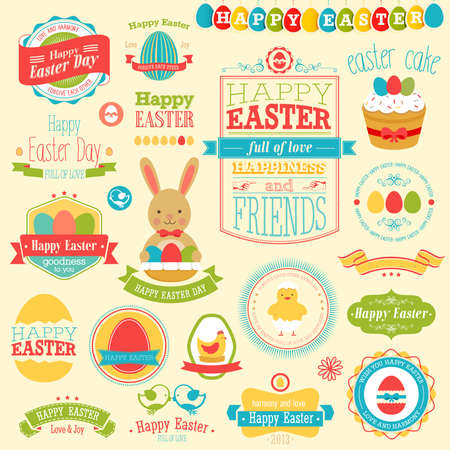 happy web: Easter set - labels, ribbons and other elements. Vector illustration.