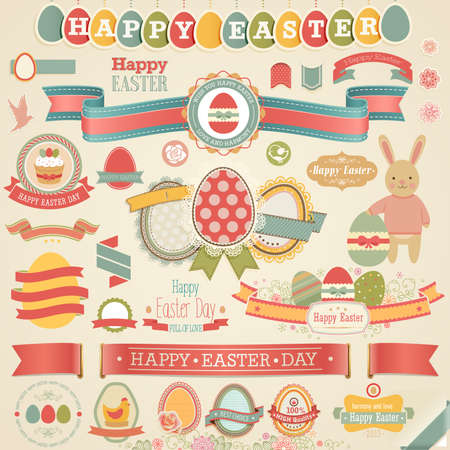 scrapbook elements: Easter scrapbook set - labels, ribbons and other elements. Vector illustration.