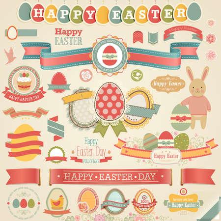 Easter scrapbook set - labels, ribbons and other elements. Vector illustration.