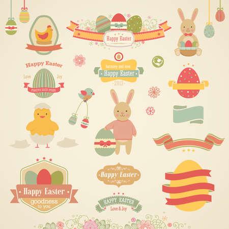 Easter set - labels, emblems and other elements. Vector illustration.
