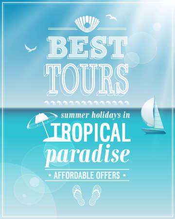 advertisements: Beautiful seaside view poster background. Illustration