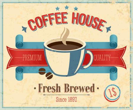 caligraphic: Vintage Coffee House card illustration.