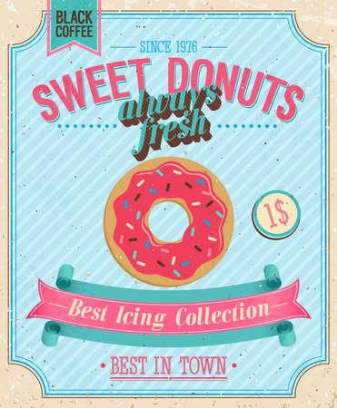 beignet: Affiche vintage illustration Donuts. Illustration