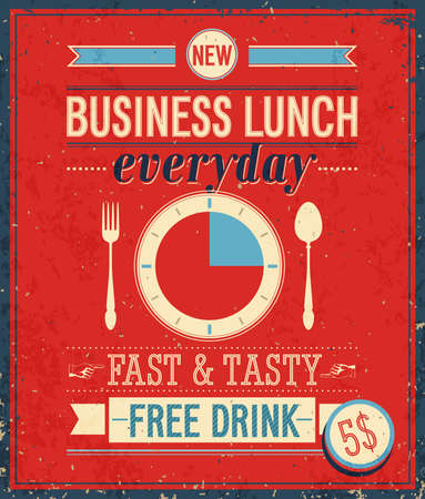 bussiness: Vintage Bussiness Lunch Poster illustration.