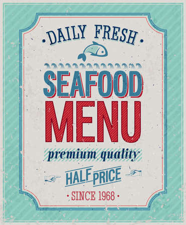 fresh seafood: Vintage SeaFood Poster illustration.