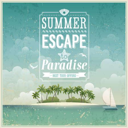 zomer: Vintage zeezicht poster achtergrond. Stock Illustratie