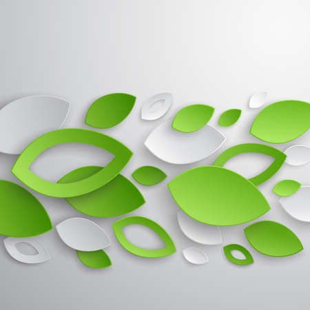 green background: Green leaves abstract background illustration.