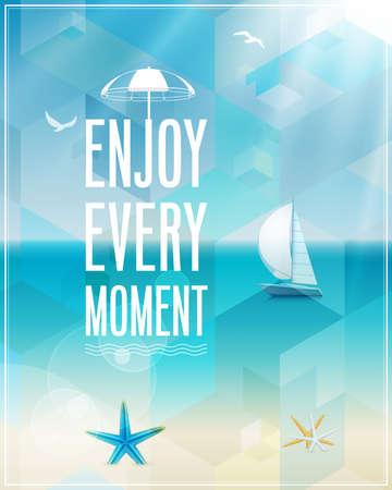 zomer: Zeezicht poster. Vector achtergrond. Stock Illustratie