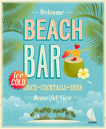 coconut palm: Vintage Beach Bar poster. Vector background. Illustration