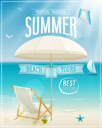 beach: Seaside view poster. Vector background.