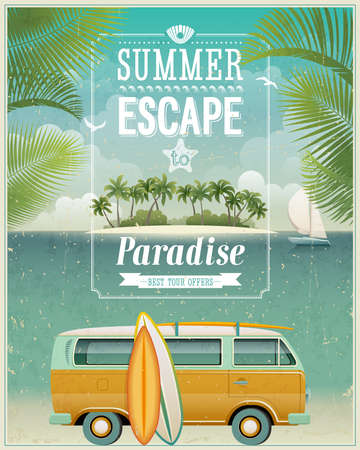advertisement: Vintage seasiVintage seaside view poster with surfing van.