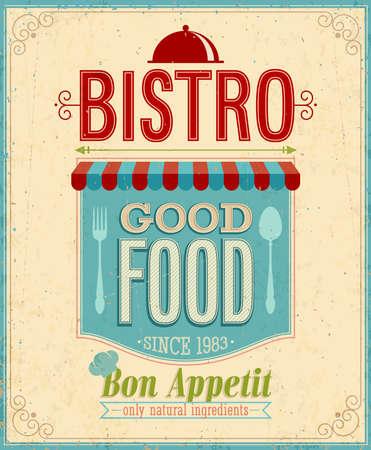 vintage cafe: Vintage Bistro Poster. Illustrazione di vettore.