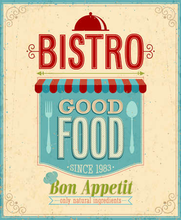 Vintage Bistro Poster. Illustrazione di vettore.