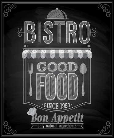 bistro: Bistro Poster - Chalkboard. Vector illustration.