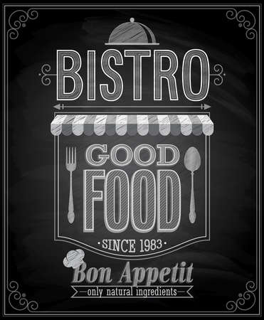 Bistro Poster - Chalkboard. Vector illustration.