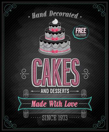 chalkboard menu: Cakes Poster - Chalkboard. Vector illustration.