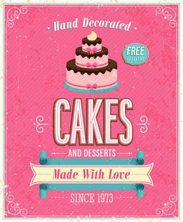 pink cake: Vintage Cakes Poster. Vector illustration. Illustration
