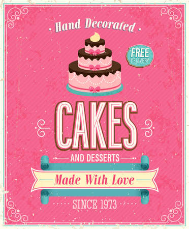 baking cake: Vintage Cakes Poster. Vector illustration. Illustration