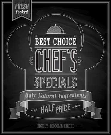 cocinero: Chef `s especiales Poster - pizarra. Ilustraci�n del vector.