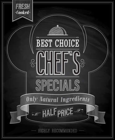 Chef`s specials Poster - Chalkboard. Vector illustration. Vector